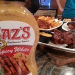 RT @WakeupKoglin: Look! @SazsCatering has a new BBQ sauce. Fox6 Days of Dining preview coming up in 2 minutes on @fox6wakeup. #Yum http://t.co/iDA8eEhk0K