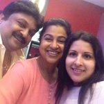 RT @realradikaa: Selfie pullai with Sangeetha vijay and Prabhu watching Kaththi???????? http://t.co/JjKkATN4wY