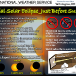 RT @NWSILN: Partial solar eclipse just before sunset tonight! Anywhere across cntl OH Valley will have similar times as shown. http://t.co/6JlNCesZ0b