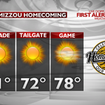 RT @komuEric: The weather for the #Mizzou Homecoming looks GREAT! Sunshine and warmer temperatures. #175Years #Homecoming http://t.co/IH0ygfUwEg