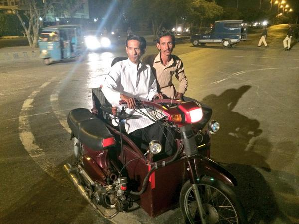 #PTI4PersonsWithDisabilities azadi bike created in Pakistan 110cc with a ramp in the back for wheel chair http://t.co/7oxgKgFmT9