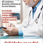 RT @rubenmoreiravdz: Felicidades a las y los médicos en su día. Reconocemos la noble labor que realizan. #Coahuila http://t.co/TTUgfyLVfU
