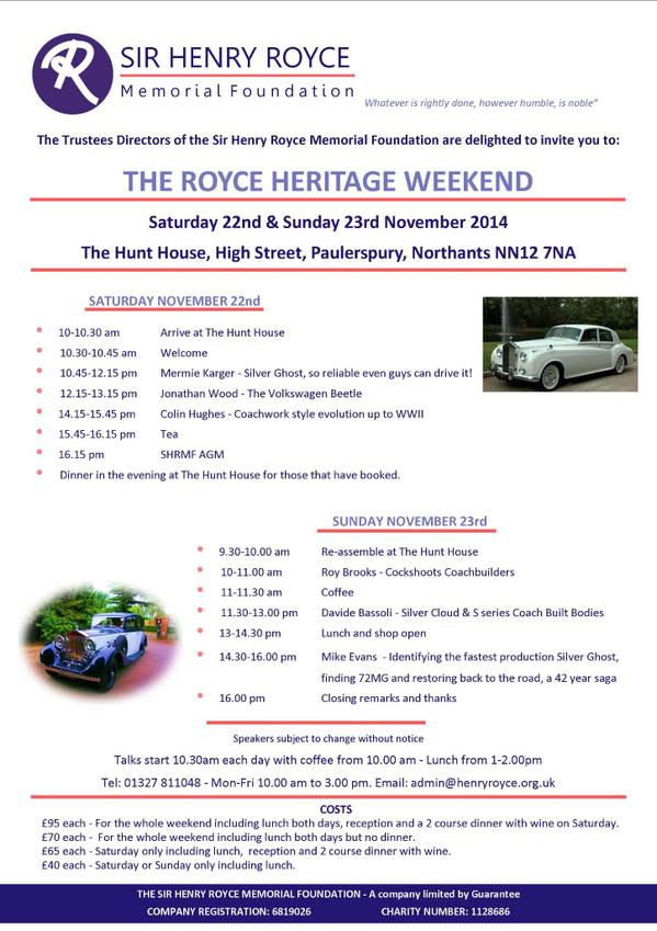 test Twitter Media - Speakers confirmed for the #Royce #Heritage Weekend:http://t.co/sAx67KbYeN http://t.co/iYXMSZeJjL