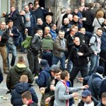 beers, bare hands, half half scarfs & plain-clothed French police with weapons .... #Everton #EFC in Lille http://t.co/HXx6PKABZW