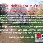 RT @zeynabelle: CHP Yarın 11:30da Validebağ Korusunda Doğa katliamına betonlasmaya karşı çıkıyor.. #ValidebağKorusu #koruyukoru http://t.co/Kdb8EKhdk6