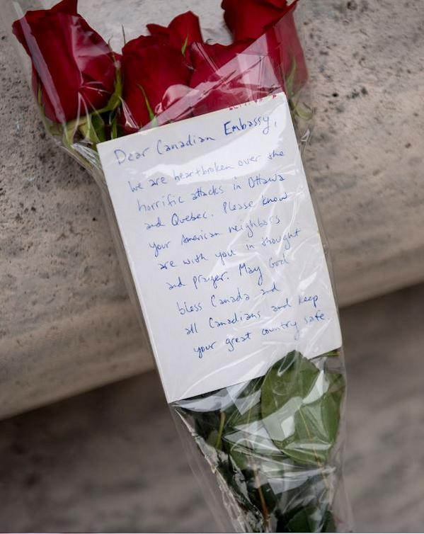 These were left at the Embassy of Canada in DC this morning. We thank you. #friendsneighborsallies http://t.co/5xFz9wowP5