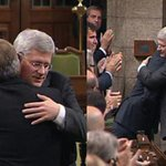 A show of unity in the House of Commons today: Harper and Mulcair, Harper and Trudeau. http://t.co/1hfRE4MB8n