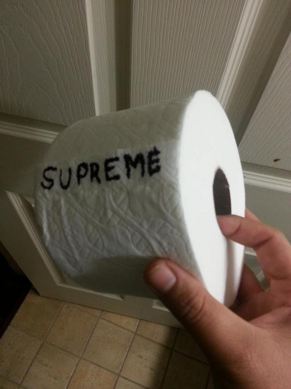 Limited edition supreme TP1000's for sale.1000 sheets X 3ply. 15$ each(limit 4 pp) FCFS no holds. http://t.co/uqSR9dsBHd