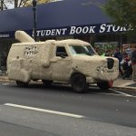 The Dumb and Dumber shaggin wagon is chilling outside the Student Bookstore this afternoon. (Photo: @SGregoryPA) http://t.co/yFElZMbKMo