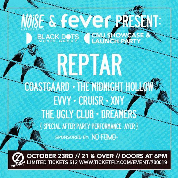 TONIGHT for @CMJ ! 6pm open bar, we play at 7! Hosted by @BlackDotsMusic @NoiseCollectNY @_NOFOMO_ @FeverNYC #cmj http://t.co/pFdWb6HQsR