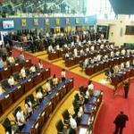 Vista parcial de Salón Azul de @AsambleaSV donde alumnos de escuelas públican desarrolla sesión plenaria. http://t.co/1YelUpy8SC