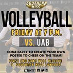 .@SouthernMissVB vs. UAB - Tomorrow at 7pm! First 100 Fans receive a #SouthernMiss Lanyard! #SMTTT http://t.co/9sKuynCRwI