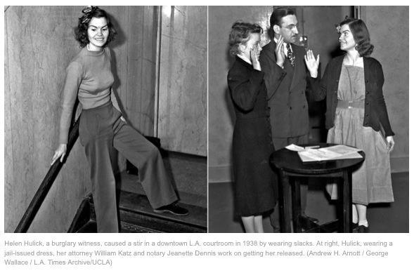 In 1938, L.A. woman went to jail for wearing slacks in courtroom http://t.co/yd5ffRhaQV via @harrysonpics http://t.co/x1Yimqmjau