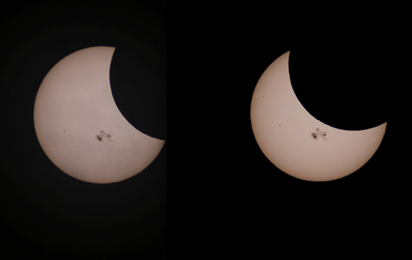 Today's partial solar #eclipse, and gnarly sunspot group, as seen from outside Boulder, CO. Photos by Jeff Kanipe. http://t.co/M0hVVCdhGy