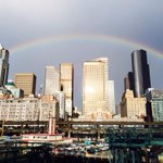 RT @KING5Seattle: Rainbow over the Emerald City! Credit: Staciadiver89 #Seattle http://t.co/9H3xcUNsRD