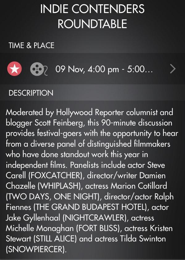 On the @AFIFEST app - Kristen will be on the 'Indie Contenders Roundtable' panel on Nov 9 #StillAlice ✌️ http://t.co/EtAwZjX34S