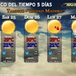 Pronóstico 5 días #Tampico #CdMadero http://t.co/zedEAPRkBp