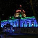 RT @belfastcc: #BelfastLightsAtNight RT@tompcotter: Belfast City Hall looking stunning this evening and awash with colour @belfastcc http://t.co/a2PheXGk4C