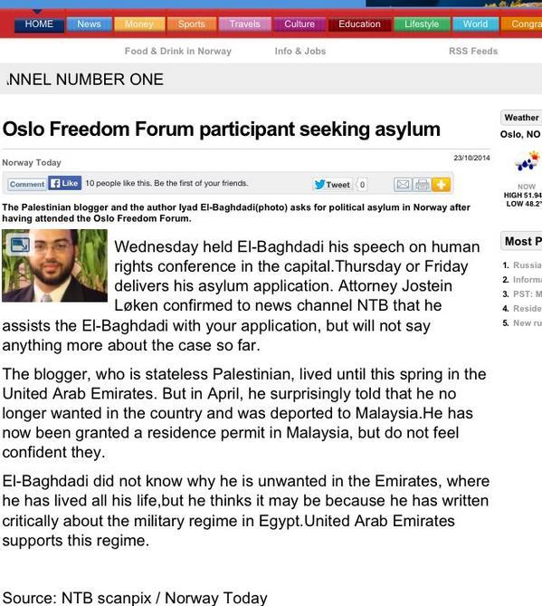 .@iyad_elbaghdadi seeks political asylum in Norway after speaking at @OsloFF #iyadinoslo #ArabSpringManifesto http://t.co/fdtDQoU9Ku