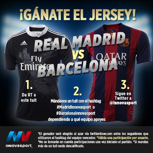 #SUPERCLÁSICO: ¡Gánate un jersey del Real Madrid o Barcelona con #Innovasport! http://t.co/zbX8juDxjP