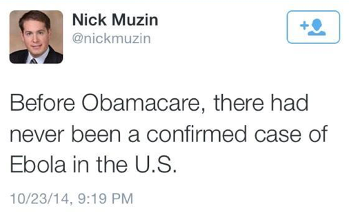 """@PzFeed: Sen. Ted Cruz' deputy chief of staff deletes tweet linking Obamacare with Ebola http://t.co/bOWwhS5b9W Via @AntDeRosa"""
