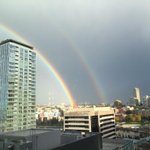 2nd tweet in 1 day! Check out rainbow from my office window. I can see where it hits the ground. Double rainbow!!!! http://t.co/gtrEzzsKDC
