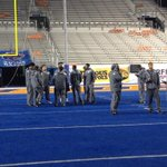 RT @BYUfootball: Checking out the blue turf!! #BYUFootball #BYUvsBOISE http://t.co/2fPWLw9N7P
