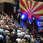 Packed house at @dougducey Rally w/ @MittRomney. Here is @Mayor_Smith energizing the crowd. #azgov http://t.co/nd21ik3MnC