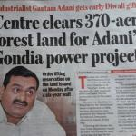 RT @AAP4Dilli: Modi govt. cleared the controversial 370 acre forest land for Adani's Gondia power project! http://t.co/pvNkOqvNK3 http://t.co/jfP5ZET90B