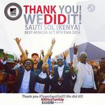 Congrats @sautisol SLAMS Region Giants to win! Best African Act MTV EMA 2014. First time for Kenyans to win this. http://t.co/SlG40YGBaC