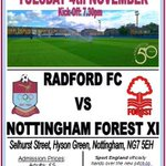 RT @RadfordFC64: @Notts_TV Available Tues 4th Nov? We play an #NFFC XI to mark 50 years. Please share. @NonLeagueCrowd @NottsFA http://t.co/beOMBdw1eG