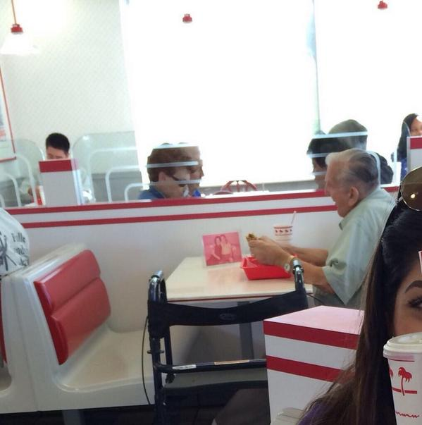 Old man eating by himself at In N Out with a picture of his wife. http://t.co/PMU3nP49gh http://t.co/ZbKBvtBDtl