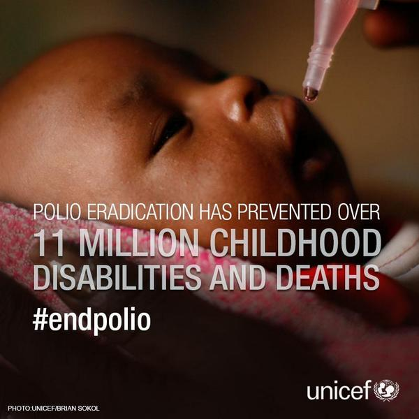 In 26 yrs, we've reduced #polio cases by 99% & saved 11 mil children from disability and death. Happy #worldpolioday! http://t.co/86nuO5VUrZ