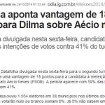 DATA FOLHA NO RIO - DILMA 59% X aécio 41% DATA FOLHA NACIONAL - DILMA 53% DOS VOTOS VÁLIDOS E O TUCANO 47% http://t.co/nJYngEkE5G