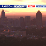 Gorgeous sunrise in progress over downtown Raleigh. A few clouds today but it stays dry. Happy Friday! EG #wral http://t.co/iNkB6G9Ob0