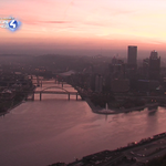 WOW!!! Check out this stunning view of Pittsburgh & the rivers right now...about 10 minutes before 7:42am sunrise. http://t.co/6sIpNM3g4s