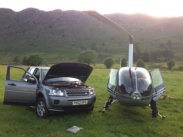 Not everyday you jump start a helicopter. @LandRover_UK @LandRoverUKPR @LandRover http://t.co/Vv0CcwG3KB