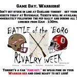 Game Day Warriors! #Arrowsup @RHSTribe @RHS_sports @Kreager @BooWyant @nolan_tom @RHS_WarriorsFB @RiverdaleBand http://t.co/citgwWomlo