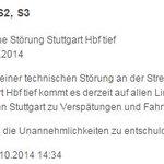 """RT @peterpstuttgart: #stuttgart #VVS s-#bahn """"derzeit"""" störung hbf tief #s21 http://t.co/MpvHy6Lcnk"""