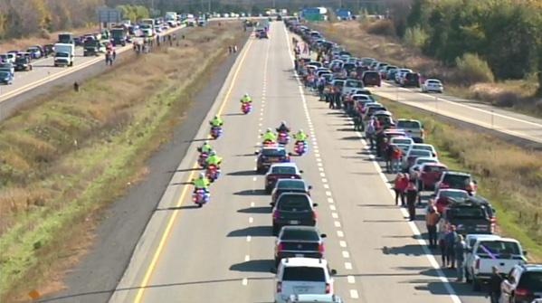 Cpl. Nathan Cirillo on the highway named for him. Heading home. Rest well. http://t.co/IQNaLMA6CB