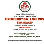 We eagerly await you at Old parade ground in Abuja on Tuesday 28th of oct by 9am as Gov Kwankwaso declares! http://t.co/APlgUq8NYq