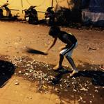 #SwachhBharat my son Tanush cleaning the road after bursting crackers http://t.co/bifDYLkePC