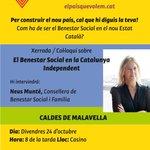 Avui Caldes de M 20h Com ha de ser el Benestar Social en el nou Estat Català? x Consellera @neusmunte @ANC_cmalavella http://t.co/yR6tcqyuwX
