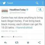 RT @priyankac19: RT @mehranzaidi: RT @Joydas: @Vidyut Cheating. Modi Ji had said 15-20 Lakhs @mehranzaidi http://t.co/TPs6RA7nfI