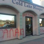 Cold Lake Mosque vandalized. Photo taken by Alex MacInnis. More to come. #Alberta #yeg #ColdLake http://t.co/D1ynxhvYE2