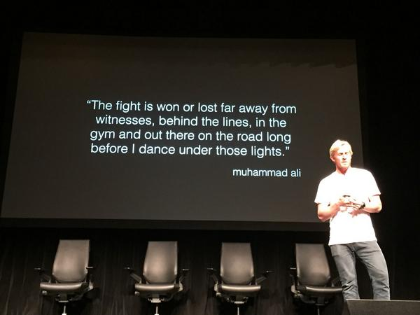 """""""The fight is won/lost behind the lines"""" ~ Muhammad Ali. Thx @andrew_cotton for sharing your story! #surf #poptech http://t.co/2RFSsZLAL9"""