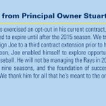Heres what Principal Owner Stuart Sternberg had to say regarding Joe Maddons departure from the #Rays: http://t.co/klaNMgX4w0