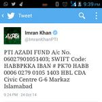 #FundNayaPakistan Here is the account details given by Khan Sahab.... Spread this as much as you can...!!!! http://t.co/Ac1g6dNdo4