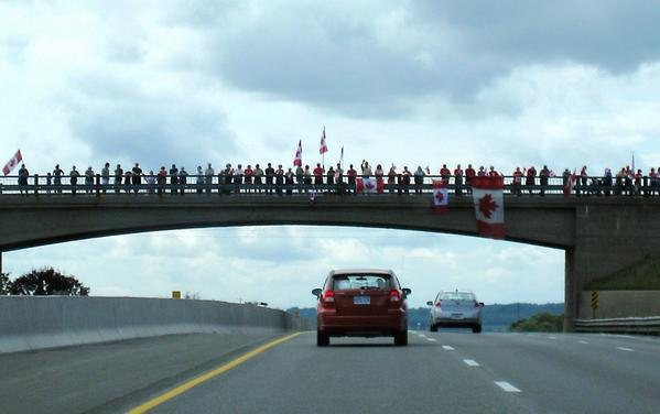 Highway of Heroes starts in Ottawa at 1pm. Ends in Hamilton. Show up, support our soldiers. Spread the word. http://t.co/RQKahEZ7ap