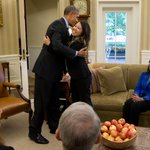Pres Obama hugs Nina Pham, nurse who recovered from Ebola contracted while treating Dallas patient; Oval Office. http://t.co/uMNodxQ9jT
